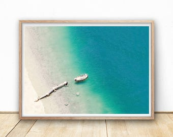 Jetty Print, Beach Print, Digital Download, Beach Printable, Ocean Print, Boat Print, Sea Wall Art, Coastal Art Print, Beach Decor, Blue Art