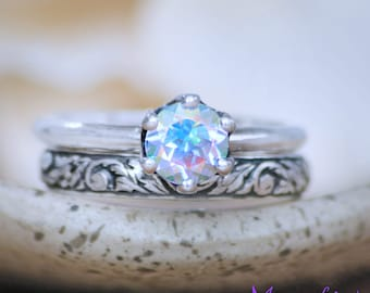 Rainbow Crown Engagement Ring and Vine Wedding Band - Sterling Silver Solitaire Bridal Ring Set - Nature-Inspired Stacking Wedding Ring Set