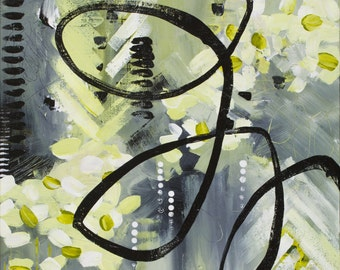 The Cool Girl (Chartreuse + Gray), original acrylic painting, abstract art