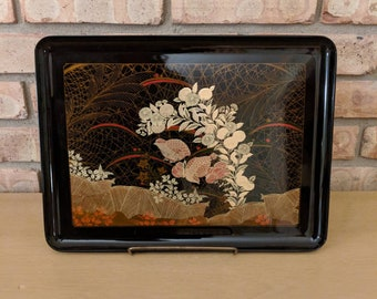 Otagiri Original Handcrafted Tray, Made in Japan, Black Lacquer, Vintage, Gold and Red Inlay, Birds and Flowers