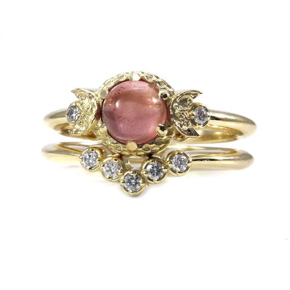 Moon Engagement Ring Set - Oregon Sunstone and Diamonds with a Diamond Chevron Wedding Band