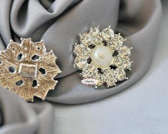 10 Rhinestone & Pearl Flat back Buttons - Flatback Rhinestone Embellishments - RD304