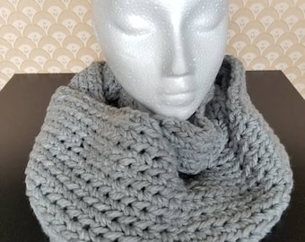Long Grey Infinity Scarf