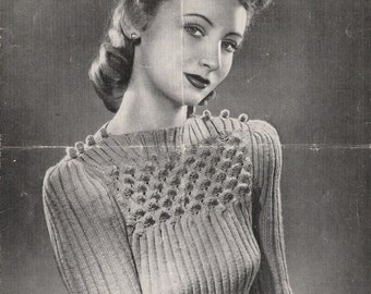 1940's Bestway 893 PDF Knitting Pattern - A Becoming Jumper with a Yoke in Peak Stitch - Wartime Jumper