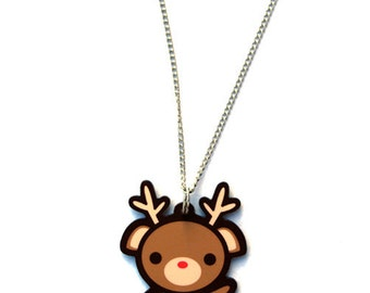 Reindeer Necklace, Kawaii Christmas Pendant, Cute Holiday Rudolph Jewelry