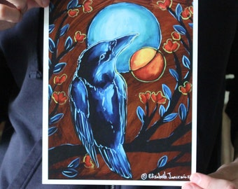 Blue Moon Raven; Fine Art Print