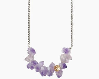 Raw Cape Amethyst Stone Statement Necklace with Yellow Clover Swarovski Crystal