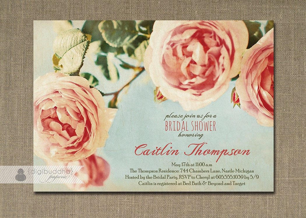 Roses Bridal Shower Invitation Pink Aqua Blue Rustic Chic