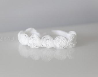 Newborn Headband, Baptism headband, Christening headband, baby headband, white baby headband