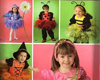 Simplicity Pattern Costumes for Kids Lady Bug, Bee, Witch, and Flower Princess  UNCUT  Size: 1/2, 1, 2, 3, 4