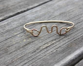 Brass Cuff Bracelet / Initial Bracelet / Brass Bracelet / Women's Jewelry