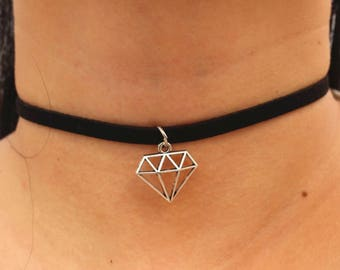 A Silver Crown Diamond  Black Suede Boho Choker Necklace with a Two inch extender chain