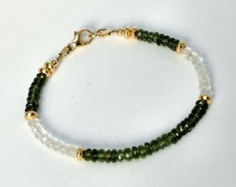 Moldavite and White Topaz Bracelet