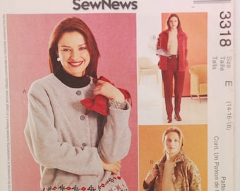 McCall's 3318 (c. 2001) Misses Size 14, 16, 18, Unlined Jacket And Pants, Casual Wear, Sewing, Polar Fleece Jacket, Side Seam Pockets