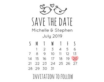 "Save the Date Calendar Stamp, wedding calendar date stamp, invitation stamp, RSVP stamp, love birds stamp, heart stamp, 2""x3.2"" (cstd97)"