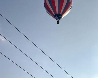Hot Air Balloon Color Photography Digital Download Blue Sky Powerlines Red White and Blue Patchwork Bucks County Pennsylvania