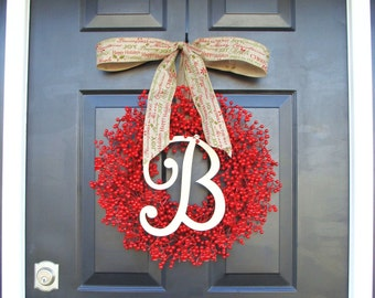 Monogram Red Berry Wreath- Fall Wreath- Christmas Wreath- Holiday Wreath- Monogram Wreath