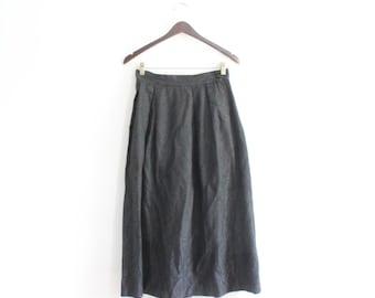 Black Brocade 80s Full Midi Skirt