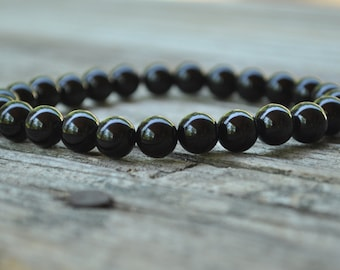 Mens Earth Star Chakra Mala, Black Onyx, Gemstone Therapy, Crystal Healing, Yoga Bracelet, Meditation Bracelet, Reiki, Wish Bracelet