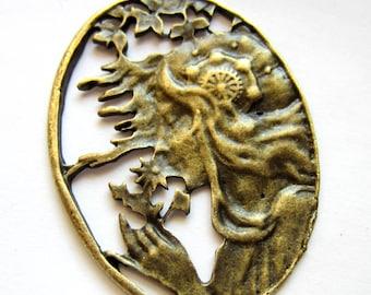 3 Art Nouveau lady pendants antique bronze jewelry making charm 38mm x 52mm ZXA2111 (SR)