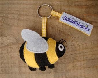 Bumblebee Wool Felt Charm Keyring