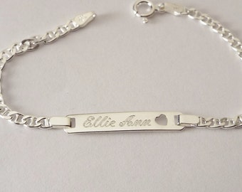 Custom Engraved ID Bracelet Personalized Sterling Silver 6 Inch Child's Size Anchor Link ID Bracelet - Hand Engraved