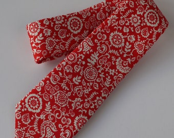 Liberty print tie - red floral tie - red wedding tie - red tie - Liberty tie - Liberty Clare and Emily
