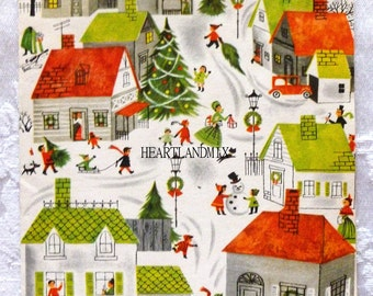 Vintage Holiday Christmas Wrapping Paper Digital Image Town Village Download Printable