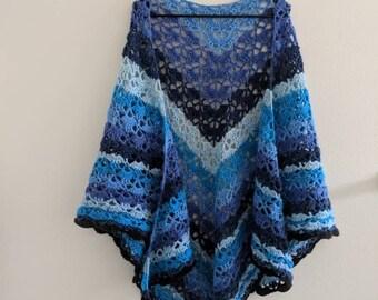 Royal Blue Iris Shawl