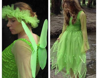 Woman's Tinker bell  Halloween  Fairy   Costume ~ Cosplay ~ Masquerade ~ Wings ~ Tulle Headpiece ~ Hens Night ~
