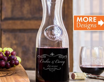Bridal Shower Gift, 40th Anniversary Gift, Personalized Wine Decanter, Wine Carafe, Laser Etched Art, Glass Decanter, Bachelorette Gift