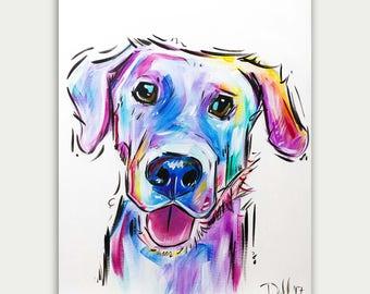 Pet Portrait, Colorful Art, Custom Dog Paintings, Acrylic On canvas, Wall Decor, Home Decor