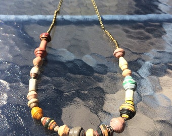 Colorful African Paper Bead Necklace