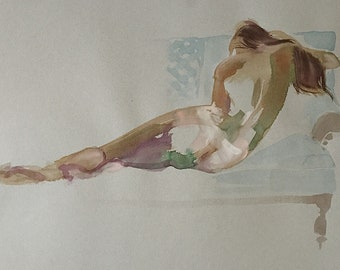 Nude #1536- original watercolor painting by Gretchen Kelly