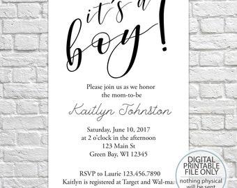 Printable Baby Shower Invitation, Minimalist Invite, Baby Shower, Black & White invitation, It's a boy Shower Invitation, Simple Invite