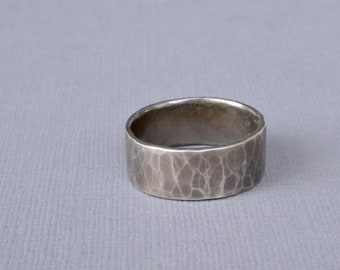 Wide Hammered Silver Ring- rustic wedding band, textured ring, wide band ring, mens silver ring, oxidized silver ring, mens wedding band