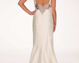 Open back wedding dress, Silk wedding dress, Mermaid skirt, Modern bride dress - Hasti maxi dress by Hanieh Fashion - Free Shipping!