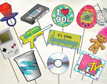 I Love The 90s Photo Booth Props - Digital Download -Printable 1990s Nostalgia Retro Gameboy Troll MTV CD Ringpop Vintage Party Decoration