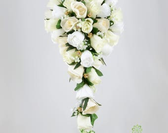 Artificial Wedding Flowers, Ivory, White & Gold Rose Brides Teardrop Bouquet