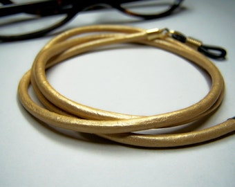Gold Leather Eyeglasses Cord, Custom Length 24-36 Inch, 3mm Leather, Chain for Glasses, by Eyewearglamour