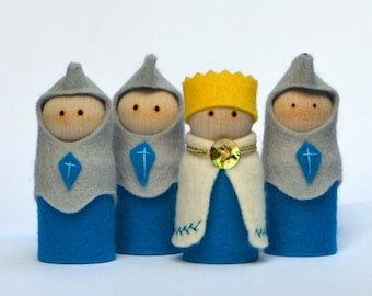 Pretend Play Toys - Blue King and Knight play set - Cool toys for Kids Gifts - Pretend play Blue Knights cross HANDMADE Natural Eco friendly