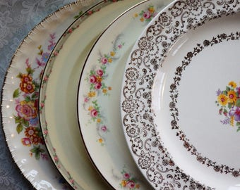 Mismatched China Dinner Plates, Set of 4, Vintage- French Saxon Gold Lace/Crooksville China Co/Pope Gosser/Taylor Smith Taylor
