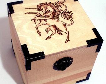 Woodburned Unicorn Box