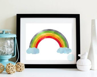 PRINTABLE ART Rainbow Print Rainbow Wall Art Rainbow Poster Children's Art Children's Printable Graphic Design Baby Boy Nursery Girl Nursery
