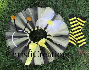 Baby Girl Bumble Bee Halloween Costume - Tutu Costume - Yellow and Black - Wings, Antennas, Leg Warmers