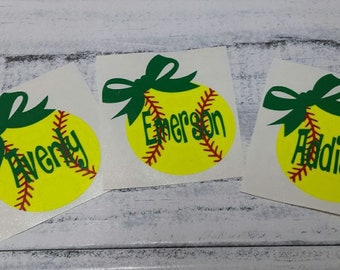 Personalized Softball decal for helmets-baseball helmet decals/stickers-vinyl decal-baseball vinyl decal-softball decal with name and bow