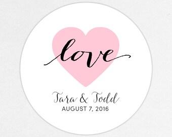 Heart, Wedding Favor Labels, Calligraphy Favor Tags, Favor Stickers, Wedding Labels, Printed Labels, Sticker, Love, Calligraphy, Lovely