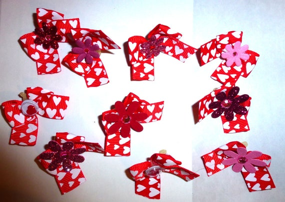 Puppy Bows ~ 10 red white heart Valentines  EVERYDAY BOWS Yorkie Maltese Shih Tzu ~Usa seller (fb87)