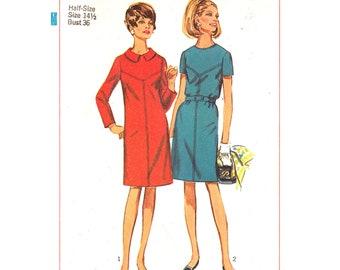 60s Dress Pattern Simplicity 7397 Long Sleeve Dress Seam Interest Collar Womens Bust 35 Vintage Sewing Pattern