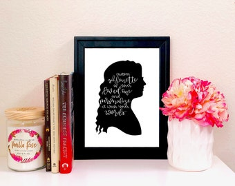 SILHOUETTE | Custom Personalized Silhouette Calligraphy Print | DIGITAL DOWNLOAD